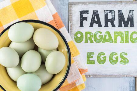 Close up of fresh organic blue farm eggs in a bowl.