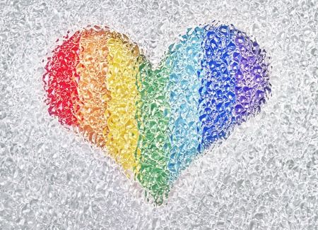 photo of rainbow heart in the crystals photo