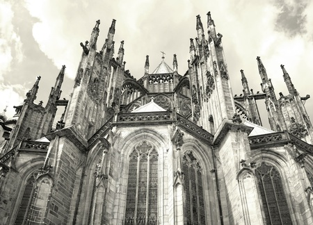 Radiating Chapels and Flying Buttress of Gothic Prague Saint Vitus Stock Photo