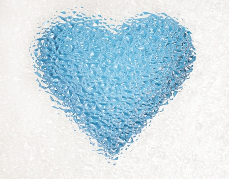 frozen deep blue heart with crystals in 3d photo