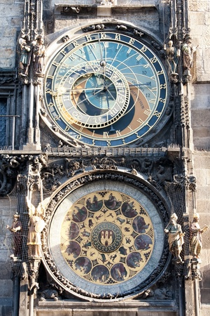 View of the astronomical clock in Prague, this a a popular tourist attraction photo