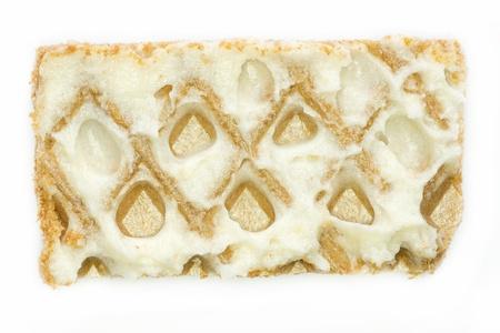 Waffle with white cream photo