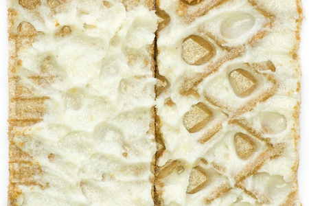 close-up of waffle with white cream photo