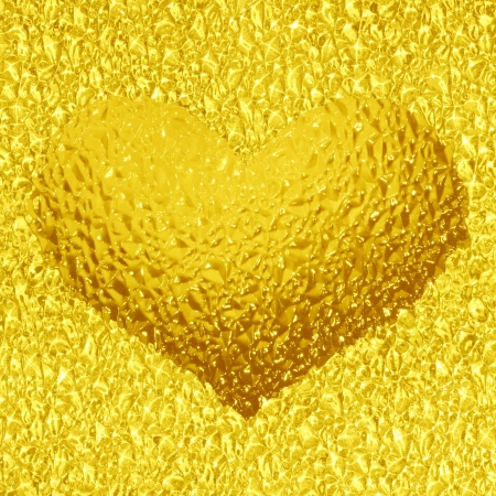 frozen gold heart with crystals in 3d photo