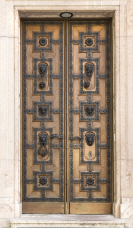 Wooden door in St. Stephens Basilica, Budapest, Hungary photo