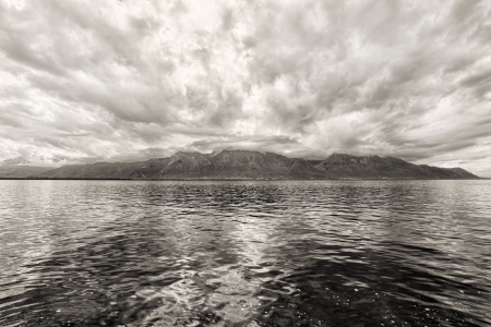 Panorama of Geneva lake near Montreux. Switzerland photo