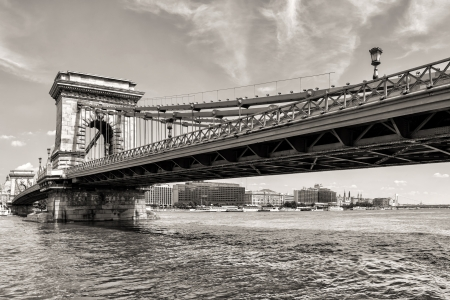 Hungarian landmark, Budapest Chain Bridge day monochrome view photo