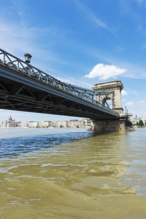 bridge footing: Hungarian landmark, Budapest Chain Bridge day view