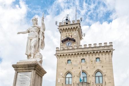 Liberty statue and public palace, San Marino republic, Italy