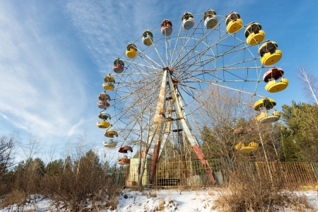 carrousel: Wasteland and abandoned Ferris wheel, Pervouralsk, Urals, Russia
