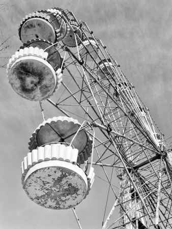 urals: Cabins of the abandoned Ferris wheel, Pervouralsk, Urals, Russia