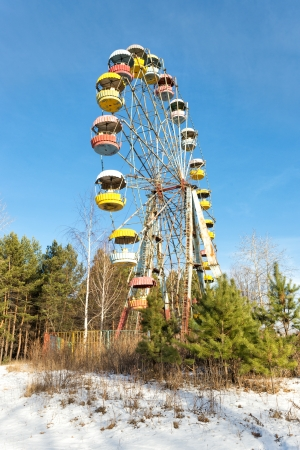 carrousel: Cabins of the abandoned Ferris wheel, Pervouralsk, Urals, Russia