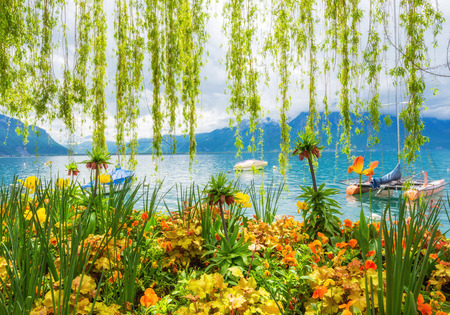 shore: Flower shore and mountains, Geneva lake,Montreux. Switzerland Stock Photo