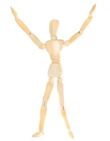 dummy: Wooden dummy - greeting (isolated on white background)