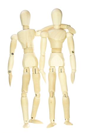 dummies: Wooden dummies - hug (isolated on white background)