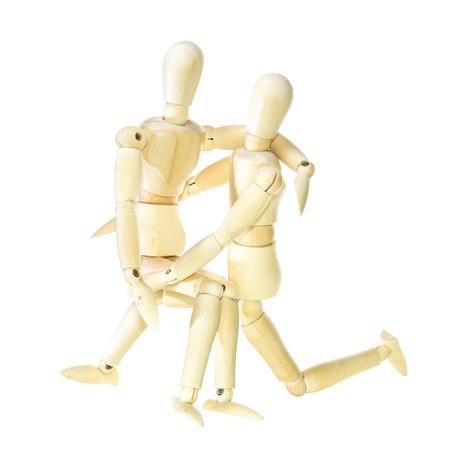 dummy: Wooden dummy - family (isolated on white background) Stock Photo