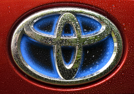 Toyota Prius 4 - emblem - Berlin, Germany - 09082017 - Blue company logo for hybrid-cars from Toyota