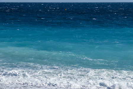View from the beach in front of Nice on the surf in the Mediterranean on the French Riviera Stock Photo