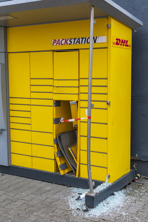 Berlin, Germany - January 3, 2019: Packing station of a parcel service provider, which was the target of destruction and vandalism on New Years Eve. Editöryel