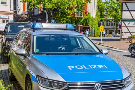 Dannenberg, Germany - May 23, 2019: A German police car parked at the roadside of a medieval town. Redactioneel