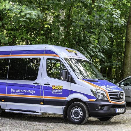 Mahlow, Germany - June 23, 2019: Van to transport for the fulfillment of last wishes before death.