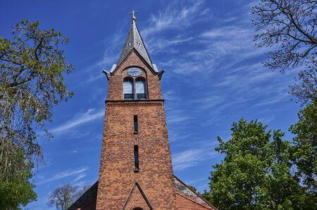 Building details of a medieval village church in Grossziethen, Germany. Standard-Bild - 146879134