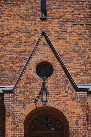 Building details of a medieval village church in Grossziethen, Germany.