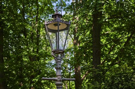 Historic street lamp that was powered by gas and stands in a Berlin park. Standard-Bild - 146879141