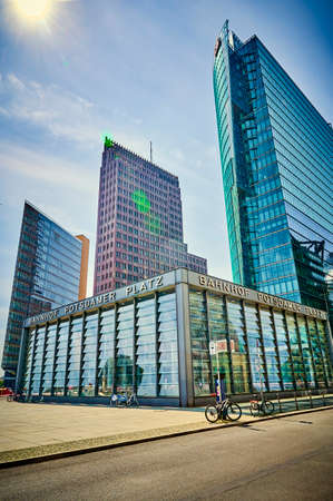 Berlin, Germany - May 8, 2020: The historic Potsdamer Platz in Berlin with the train station in the foreground and the modern high-rise buildings in the background.