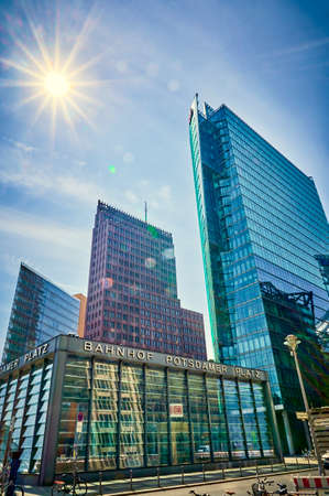 Berlin, Germany - May 8, 2020: The historic Potsdamer Platz in Berlin with the train station in the foreground and the modern high-rise buildings in the background. Standard-Bild - 146908964
