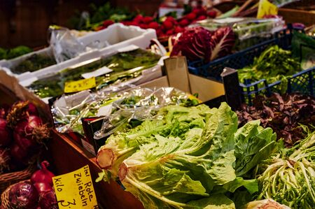 A market stall with various colorful varieties of vegetables. Standard-Bild - 147784174
