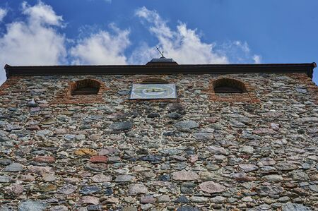 Low angle shot from the tower of a medieval village church in the state of Brandenburg, Germany. Standard-Bild