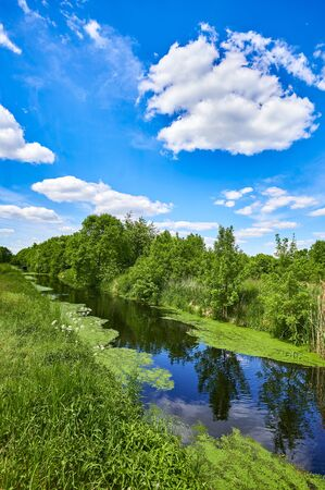 Blue and cloudy sky over a little creek in the surrounding countryside of Berlin, Germany. Standard-Bild - 147784256