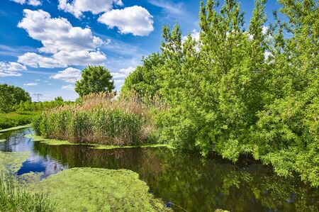 Blue and cloudy sky over a little creek in the surrounding countryside of Berlin, Germany.