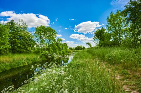 Blue and cloudy sky over a little creek in the surrounding countryside of Berlin, Germany. Standard-Bild - 147784295