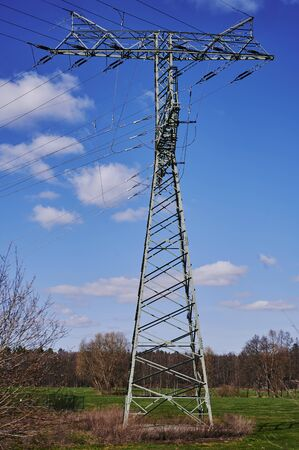 Power mast on a meadow in Germany in front of a blue sky.