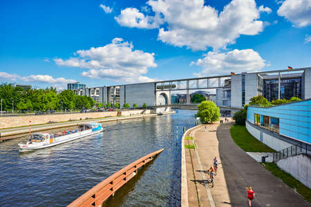 Berlin, Germany - June 14, 2020: View of the river Spree in the government district of Berlin, Germany. Editorial