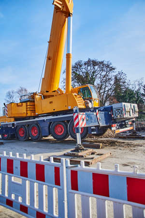 Berlin, Germany - January 19, 2019: Details of a heavy construction crane at a construction site in Berlin, Germany.