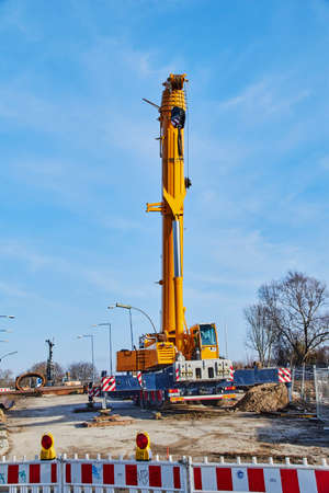 Berlin, Germany - January 19, 2019: View of a heavy construction crane at a construction site in Berlin, Germany. Editorial