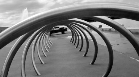 Bike Rack, abstract black and white bicycle rack