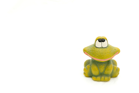 Green frog on isolated on white backdrop, cute facial expression. Stok Fotoğraf