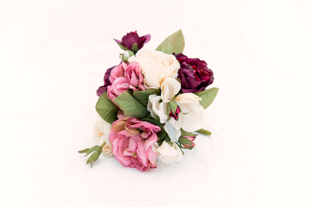 Red, white and pink roses isolated on white background.