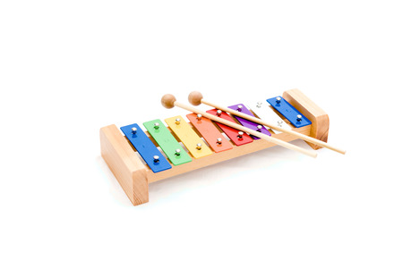 Bright multicolored musical instrument isolated on white background.