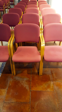 Multiple pink fabric and bent wood chairs in a meeting room