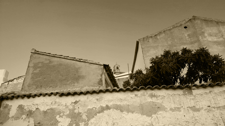 Spanish garden wall with Nispero, Medlar tree and church tower. Monochrome, sepia tone, black and white.