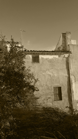 Spanish garden wall with deep blue sky and evening sun and pomegranate tree. Monochrome, sepia tone, black and white. Imagens
