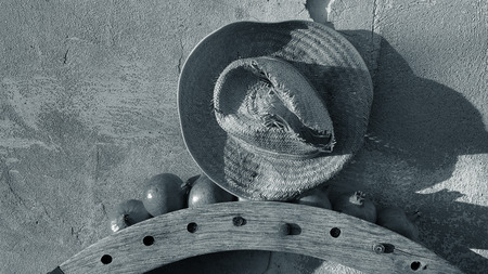 Old wooden wheel gear with rusty metal handle and brackets. Olive oil processing equipment. Garden wall, pomegranates in evening sunshine and straw hat