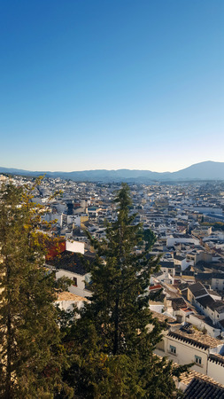 Panorama of Martos, a white Spanish town from a high viewpoint.