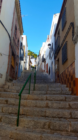 Stone stairs in a street with houses either side and green metal railings.