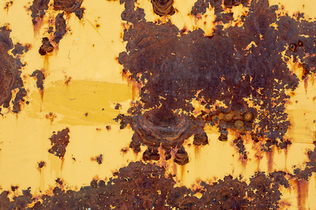 Yellow painted metal surface with rust and scratches as texture or background